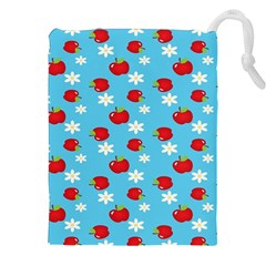 Fruit Red Apple Flower Floral Blue Drawstring Pouches (XXL)