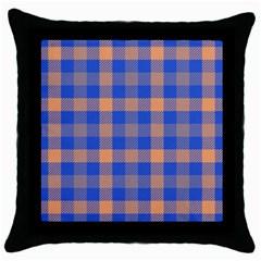 Fabric Colour Blue Orange Throw Pillow Case (Black)