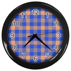 Fabric Colour Blue Orange Wall Clocks (Black)