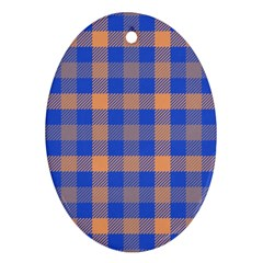Fabric Colour Blue Orange Oval Ornament (Two Sides)