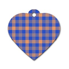 Fabric Colour Blue Orange Dog Tag Heart (Two Sides)