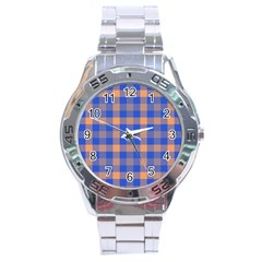 Fabric Colour Blue Orange Stainless Steel Analogue Watch