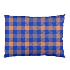 Fabric Colour Blue Orange Pillow Case (Two Sides)