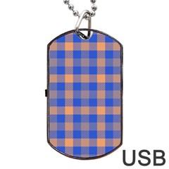 Fabric Colour Blue Orange Dog Tag USB Flash (Two Sides)