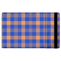 Fabric Colour Blue Orange Apple iPad 3/4 Flip Case