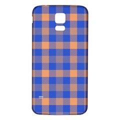 Fabric Colour Blue Orange Samsung Galaxy S5 Back Case (White)