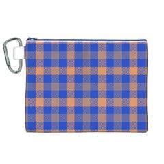 Fabric Colour Blue Orange Canvas Cosmetic Bag (XL)