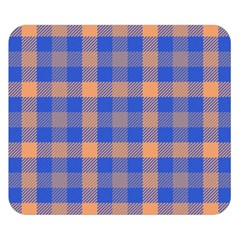 Fabric Colour Blue Orange Double Sided Flano Blanket (Small)