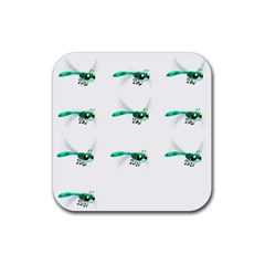 Flying Dragonfly Rubber Square Coaster (4 pack)