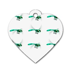Flying Dragonfly Dog Tag Heart (Two Sides)