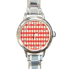 Gingham Red Plaid Round Italian Charm Watch
