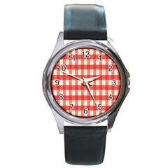 Gingham Red Plaid Round Metal Watch