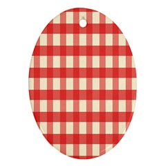 Gingham Red Plaid Ornament (Oval)