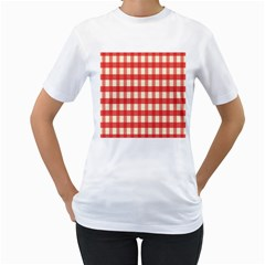 Gingham Red Plaid Women s T-Shirt (White) (Two Sided)