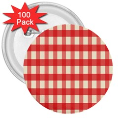 Gingham Red Plaid 3  Buttons (100 pack)