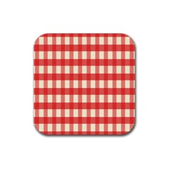Gingham Red Plaid Rubber Coaster (Square)