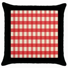 Gingham Red Plaid Throw Pillow Case (Black)