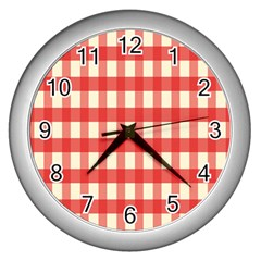 Gingham Red Plaid Wall Clocks (Silver)