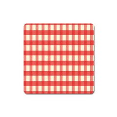 Gingham Red Plaid Square Magnet