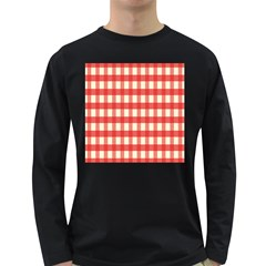 Gingham Red Plaid Long Sleeve Dark T-Shirts