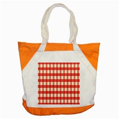 Gingham Red Plaid Accent Tote Bag