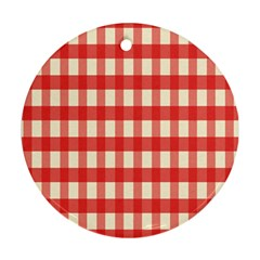 Gingham Red Plaid Round Ornament (Two Sides)