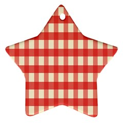 Gingham Red Plaid Star Ornament (Two Sides)