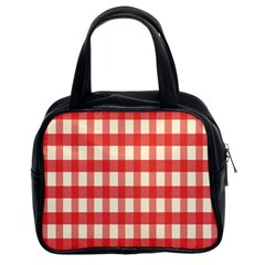 Gingham Red Plaid Classic Handbags (2 Sides)