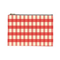 Gingham Red Plaid Cosmetic Bag (Large)