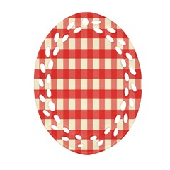 Gingham Red Plaid Oval Filigree Ornament (two Sides)