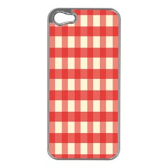 Gingham Red Plaid Apple iPhone 5 Case (Silver)