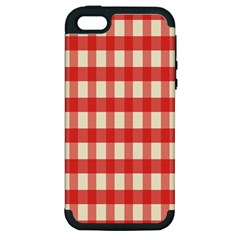 Gingham Red Plaid Apple iPhone 5 Hardshell Case (PC+Silicone)