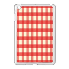 Gingham Red Plaid Apple iPad Mini Case (White)