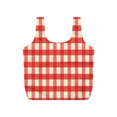 Gingham Red Plaid Full Print Recycle Bags (S)