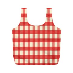 Gingham Red Plaid Full Print Recycle Bags (M)