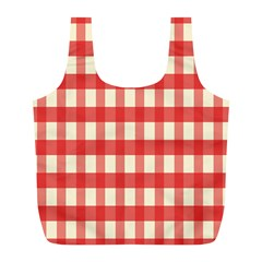 Gingham Red Plaid Full Print Recycle Bags (L)