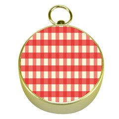 Gingham Red Plaid Gold Compasses