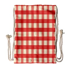 Gingham Red Plaid Drawstring Bag (Large)