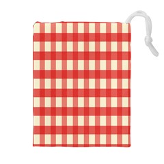 Gingham Red Plaid Drawstring Pouches (Extra Large)