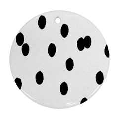 Gold Polka Dots Dalmatian Round Ornament (two Sides)