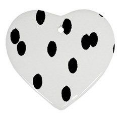 Gold Polka Dots Dalmatian Heart Ornament (Two Sides)