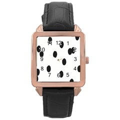 Gold Polka Dots Dalmatian Rose Gold Leather Watch