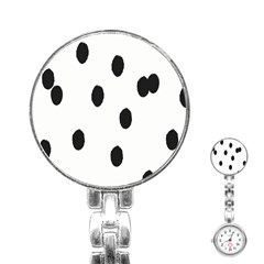 Gold Polka Dots Dalmatian Stainless Steel Nurses Watch