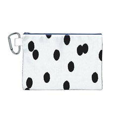 Gold Polka Dots Dalmatian Canvas Cosmetic Bag (M)