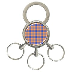 Fabric Colour Orange Blue 3-Ring Key Chains
