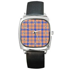 Fabric Colour Orange Blue Square Metal Watch
