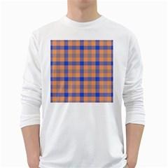 Fabric Colour Orange Blue White Long Sleeve T-Shirts