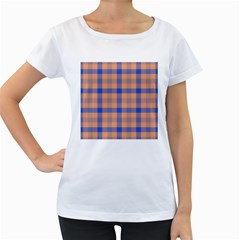 Fabric Colour Orange Blue Women s Loose-Fit T-Shirt (White)