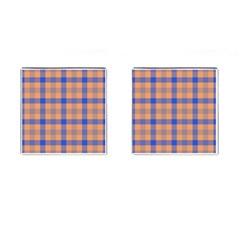 Fabric Colour Orange Blue Cufflinks (Square)