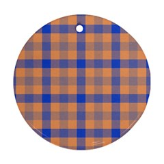 Fabric Colour Orange Blue Round Ornament (Two Sides)